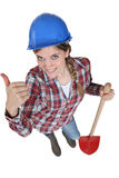Young female bricklayer Royalty Free Stock Photos