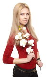 Young female with bunch of white flowers Stock Image