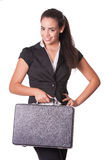 Young female business person holding briefcase Royalty Free Stock Images