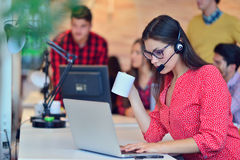 Young female in call center team. Beautifull Young female in call center team stock image