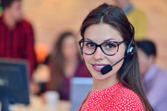 Young female in call center team. Beautifull Young female in call center team royalty free stock images