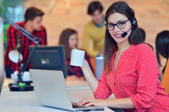 Young female in call center team. Beautifull Young female in call center team stock photo