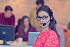 Young female in call center team. Beautifull Young female in call center team stock photography