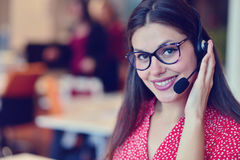 Young female in call center team Royalty Free Stock Photo
