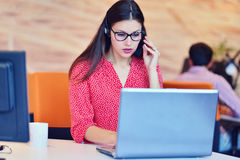 Young female in call center team Royalty Free Stock Photography