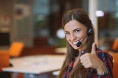 Young female in call center team. Beautifull Young female in call center team royalty free stock photography