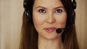 Young female call centre agent stock footage