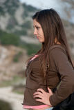 Young female in casual wear in nature Royalty Free Stock Images