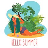 Young female character with green hair relaxing sit on sand. Vector illustration. Summertime. vector illustration