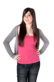 Young female cheerful isolated. Young adult teen cheerful on white background royalty free stock image