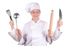 Young female chef with four hands Stock Image