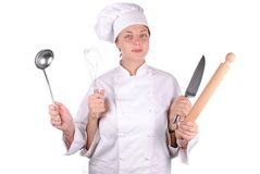 Young female chef with four hands. Isolated on white Stock Image