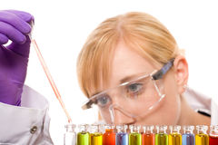 Young female chemist doing some research. Female laboratory assistant holds pipette and fills test tubes, makes some tests or experiments, studio shoot isolated Royalty Free Stock Photos