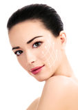 Young female with clean fresh skin. Antiaging concept Stock Image