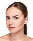 Young female with clean fresh skin. The young female with clean fresh skin, antiaging and lifting concept Stock Photos