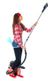 Young female cleaner in red shirt, isolated Royalty Free Stock Photography