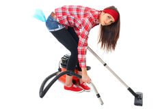 Young female cleaner in red shirt isolated Stock Photos
