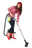 Young female cleaner in red shirt isolated Stock Photography