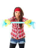 Young female cleaner in red shirt, isolated Stock Photography