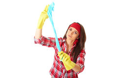 Young female cleaner in red shirt isolated Royalty Free Stock Photography