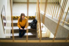 Young female college student sitting on stairs at school, writing essay on her laptop. Education concept. View from above Royalty Free Stock Photos