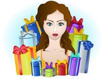 Young female with colorful gift boxes Stock Photos