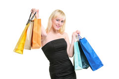 A young female coming back from shopping royalty free stock photos