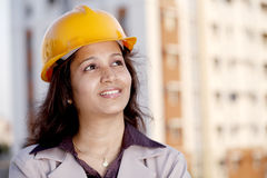 Young female construction engineer Stock Image