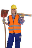 Young female construction worker woman job isolated Stock Image