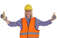 Young female construction worker woman occupation job thumbs up Royalty Free Stock Photography