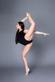 Young female contortionist in black bodysuit on dark background Stock Image