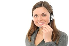 Young female customer service representative. In headset.on a white background Stock Images