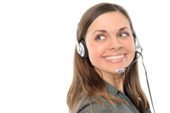 Young female customer service representative. In headset.on a white background Stock Image