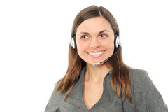 Young female customer service representative. In headset.on a white background Royalty Free Stock Photography