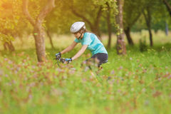 Young Female Cyclist practicing Stock Photo