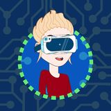 Young Female In 3d Headset Virtual Reality Glasses Profile Icon Avatar. Flat Vector Illustration Royalty Free Stock Images