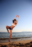 Young female dancer on the beach Royalty Free Stock Photo