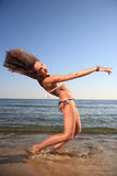 Young female dancer on the beach Royalty Free Stock Images