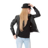 Young female dancer in black hat Royalty Free Stock Image