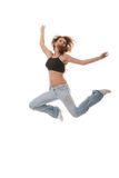 Young female dancing jazz modern dance Royalty Free Stock Image