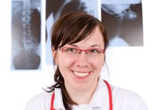 Young Female Doc, Isolated On White, X-rays As Bacground Royalty Free Stock Images