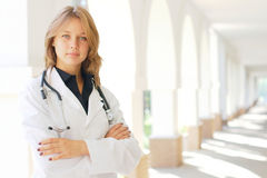 Young female doctor. Close-up portrait of a young smiling female doctor Stock Photography
