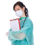 Young female doctor with clipboard Royalty Free Stock Photo