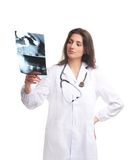 A young female doctor examining the x-ray Royalty Free Stock Photos