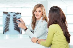 Young female doctor explaining diagnosis to her female patient Stock Image