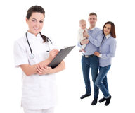 Young female doctor and happy family with child isolated on whit Stock Photography