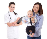 Young female doctor and happy mother with child isolated on whit Stock Images