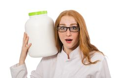 Young female doctor holding jar of protein Stock Images