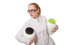 Young female doctor holding jar of protein Royalty Free Stock Photo