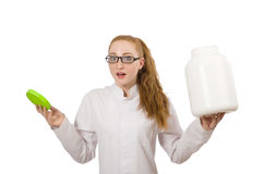 The young female doctor holding jar of protein isolated on white Royalty Free Stock Photography
